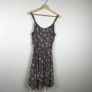 Lauren Conrad Thin Strap Grey Floral Midi Dress 12